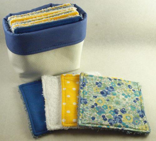 Coffret lingettes lavables bleuet